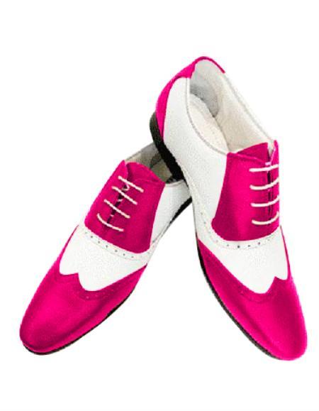 Alberto Nardoni Leather Two Toned  Wing Tip Shoe + Fucia Color