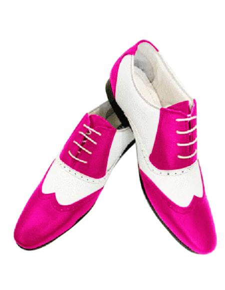Alberto Nardoni Leather Two Toned  Wing Tip Shoe + Hot Pink Color