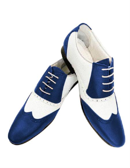 Men's lace up style cushioned insole 4 eyelet lacing premium leather blue wingtip shoes