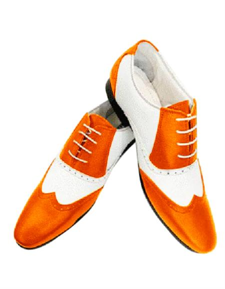 Full cushioned lace up style two toned premium leather white ~ orange shoes mens