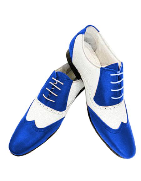 Alberto Nardoni Leather Two Toned  Wing Tip Shoe + Royal Blue Color