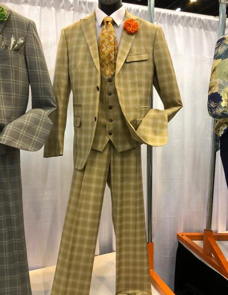 1960s Mens Suits | 70s Mens Disco Suits Mens Vintage Plaid  Windowpane Vested Suit 3 Pieces Regular Fit Camel $160.00 AT vintagedancer.com