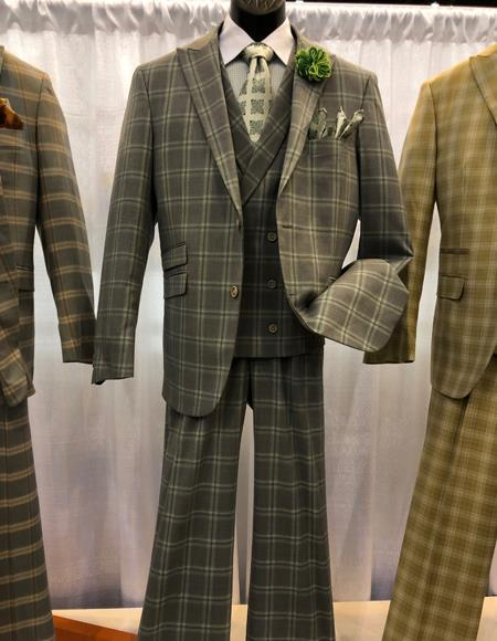 Men's Vintage Style Suits, Classic Suits Mens Vintage Plaid  Windowpane Vested Suit 3 Pieces Regular Fit Tan $160.00 AT vintagedancer.com