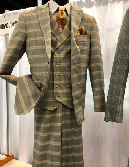 1960s Mens Suits | 70s Mens Disco Suits Mens Vintage Plaid  Windowpane Vested Suit 3 Pieces Regular Fit Khaki $149.00 AT vintagedancer.com