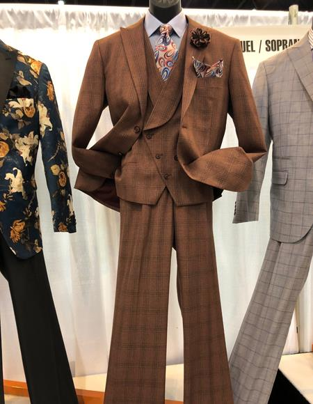 1920s Fashion for Men Mens Vintage Plaid  Windowpane Vested Suit 3 Pieces Regular Fit Dark Brown $160.00 AT vintagedancer.com