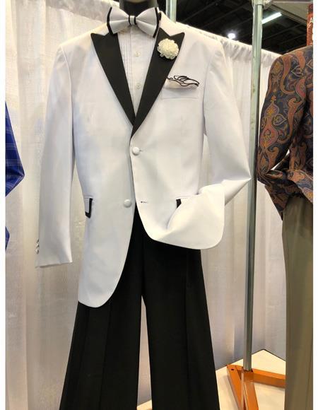 Men's White Cuff Link One Chest Pocket Two Button Blazer