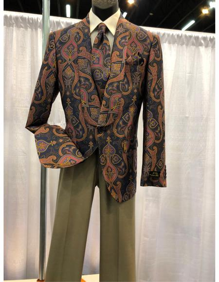 Mens Brown Floral Pattern One Chest Pocket One Button Shawl Lapel Blazer