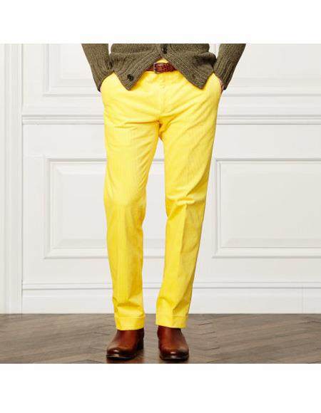 Men's Summer Linen Dress Pants Yellow Flat Front Pant