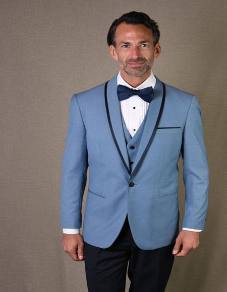 Genova Steel Blue 1-Button Shawl Sky Blue - Light Blue Tuxedo
