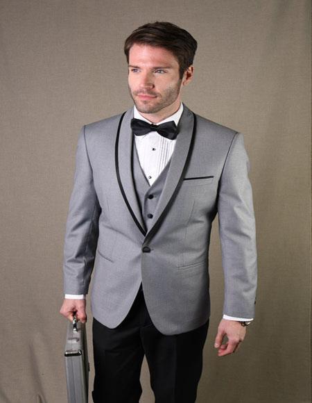 Genova Grey 1-Button Shawl Tuxedo