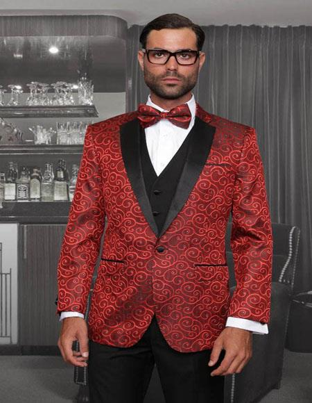 Bellagio Red 1-Button Notch Tuxedo - Red Tuxedo
