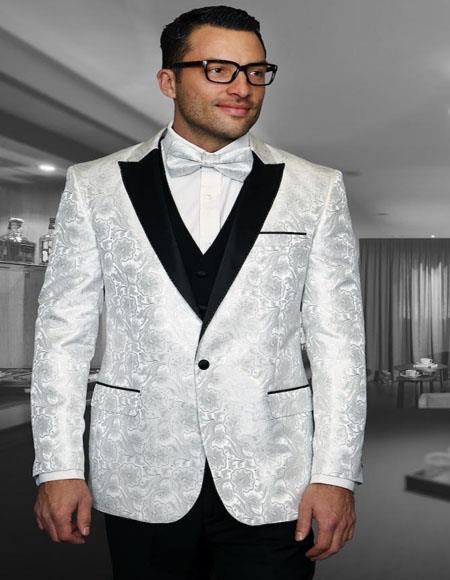 Bellagio IV White 1-Button Peak Tuxedo