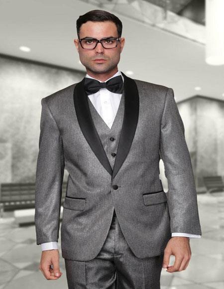 Enzo Grey 1-Button Shawl Tuxedo
