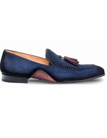 Mens Blue Shoe Slip On Hand Made