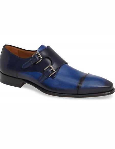 Mens Blue Double Monk Strap Leather Shoe