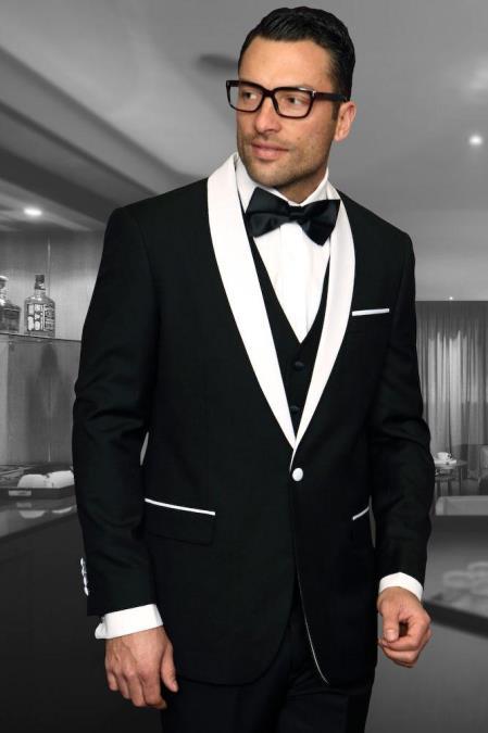 Encore Black 1-Button Shawl Tuxedo