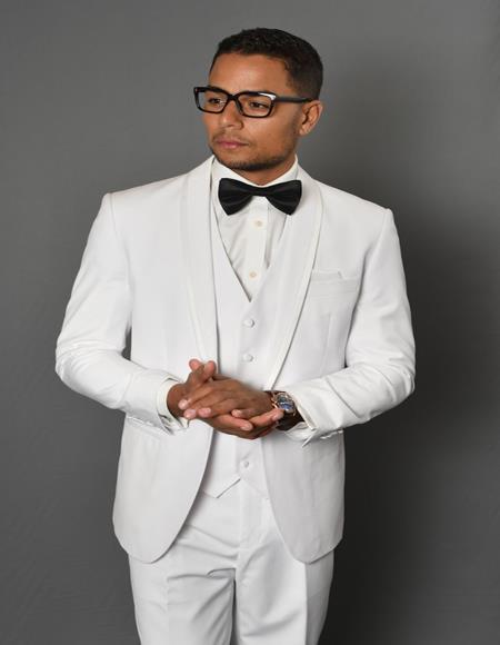 Caesar White 1-Button Shawl Tuxedo