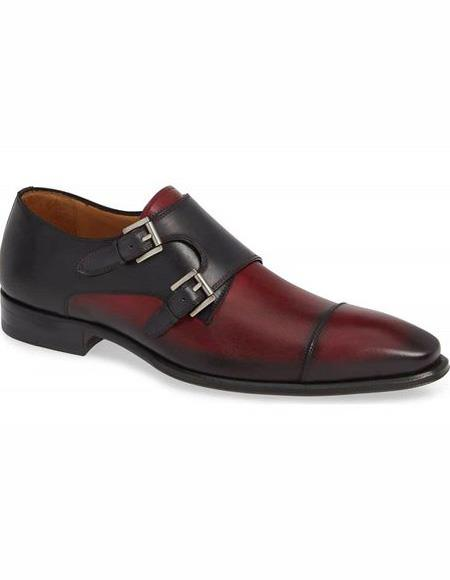 Mens Burgundy Double Monk Strap Leather Lining Shoe