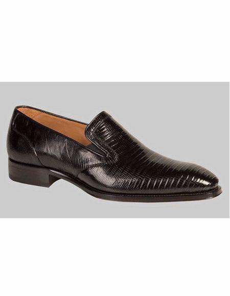 Men's Black Slip On Lizard Skin Shoe
