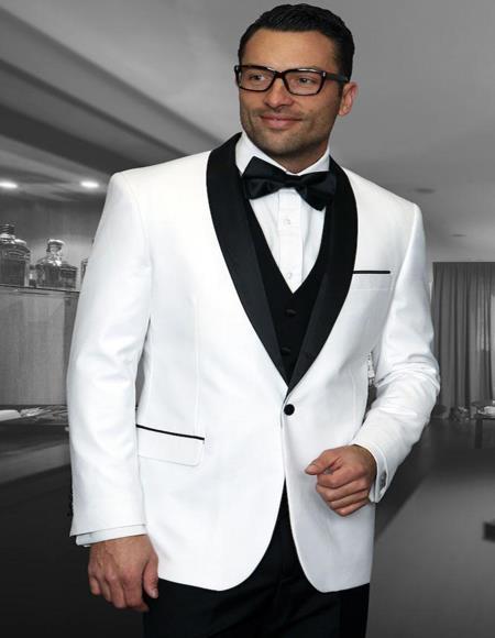 Encore White 1-Button Shawl Tuxedo