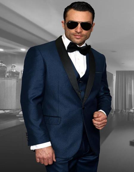 Wynn Indigo ~ Bright Blue 1-Button Shawl Tuxedo
