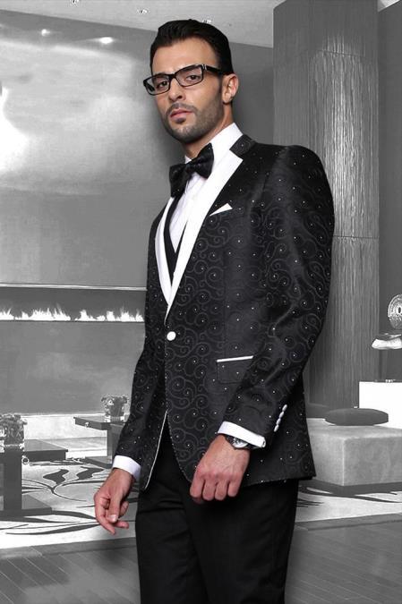 Bellagio Black 1-Button Notch Tuxedo