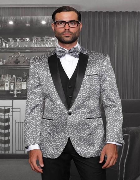 Bellagio Silver 1-Button Notch Tuxedo