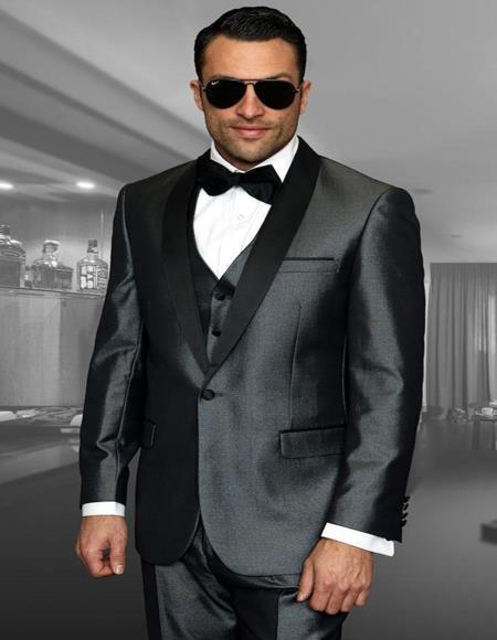 Wynn Grey 1-Button Shawl Tuxedo