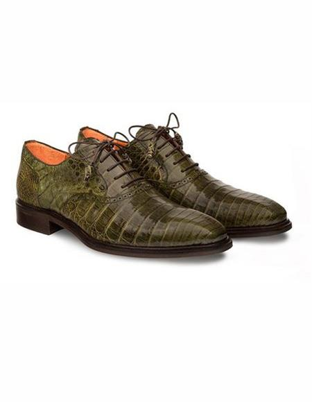 Mens Olive Lace Up Leather Cap Toe
