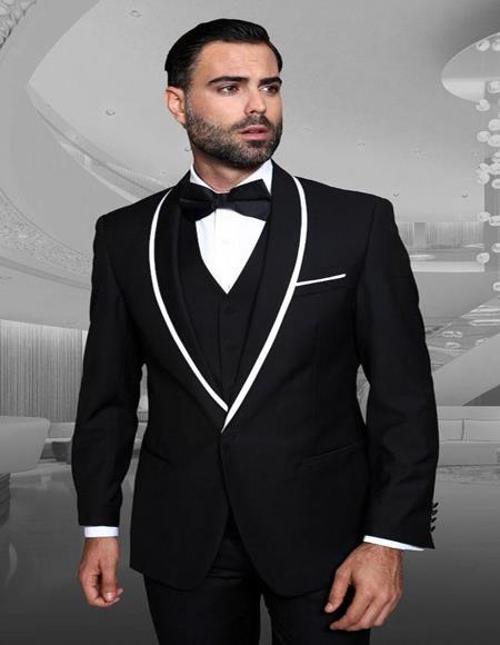 Genova Black 1-Button Shawl Tuxedo