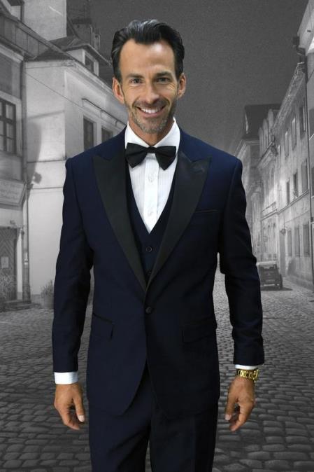 Alberto Navy 1-Button Peak Tuxedo