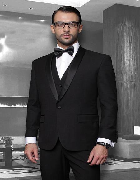 Theo Black 1-Button Shawl Tuxedo