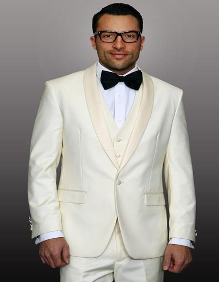 Theo Off-White 1-Button Shawl Tuxedo