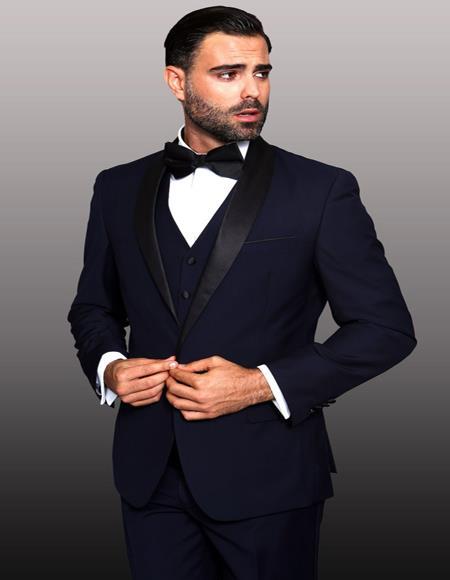 Theo Navy 1-Button Shawl Tuxedo