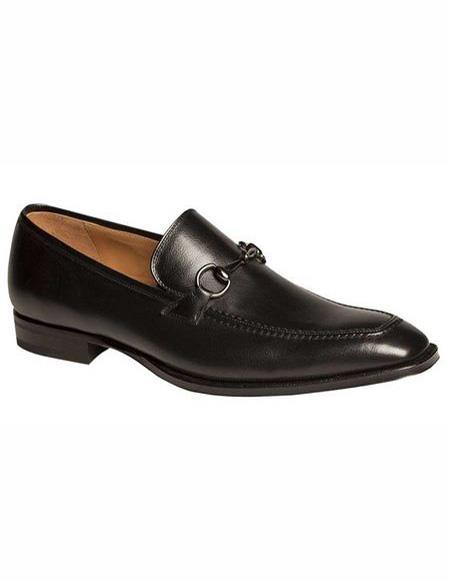 Mens Leather Black Shoe Moc Toe