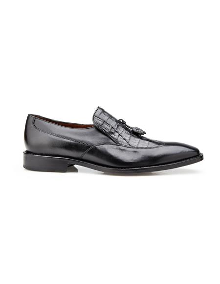 Authentic Mens Dress Shoe Bosco, in Black Alligator and Italian Calf Wing Tip Style: 4B2
