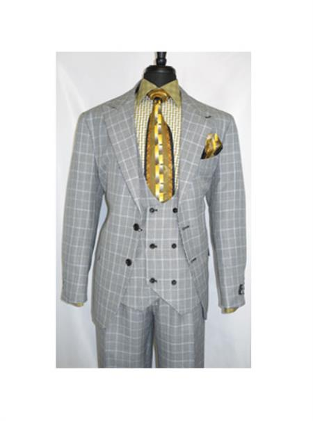 Mens Two Button Single Breasted Plaid Design Gray Suit