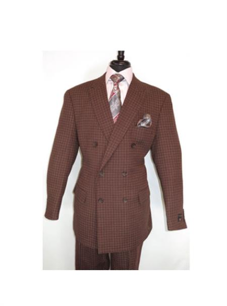 Mens Double Breasted Button Closure Burgundy Checked Pattern Suit