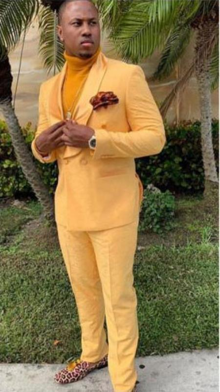 Mens Yellow Single Breasted Shawl Lapel One Button Suit
