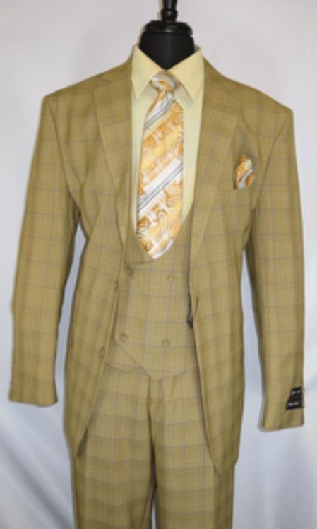 Fortino Landi #5702v6-Tan.Plaid- Vested Mens Checkered Suit