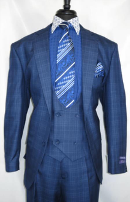 Vinci #V2Rw-7 -Blue.Plaid- Vested Men's Checkered Suit