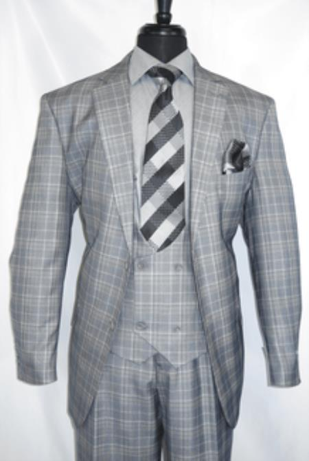 Vinci #V2Rw-7 -Grey.Plaid- Vested Mens Checkered Suit