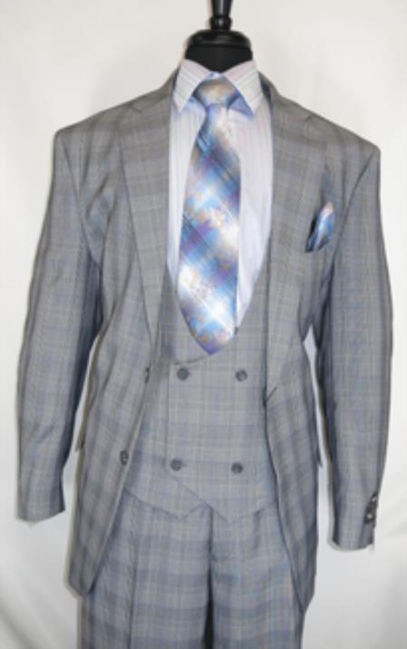 Fortino Landi #5702v6-Grey.Plaid- Vested Men's Checkered Suit