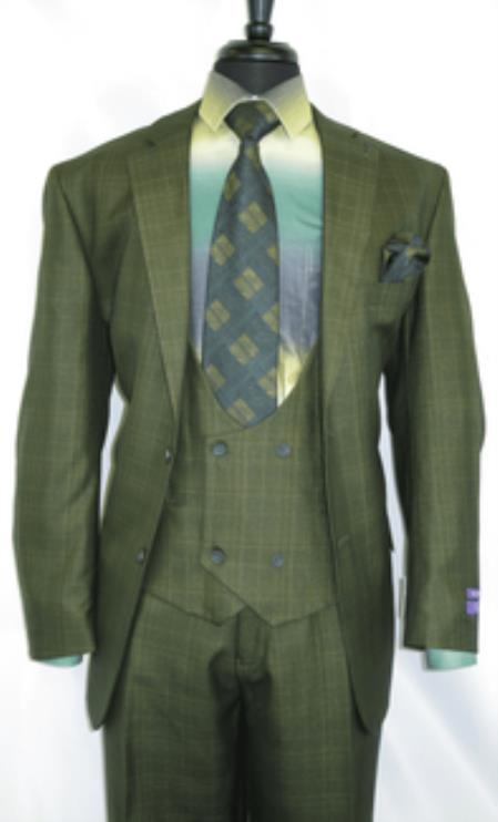 Vinci#V2Rw7 -Olive.Green- Plaid Vested Men's Checkered Suit