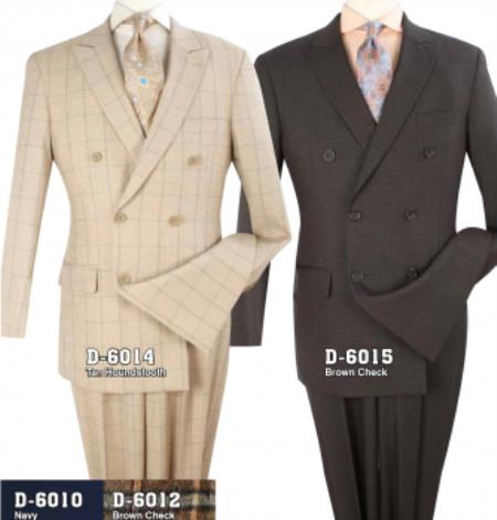 Mens Double Breasted Brown ~ Tan Suit With Semi Wide Leg Pants