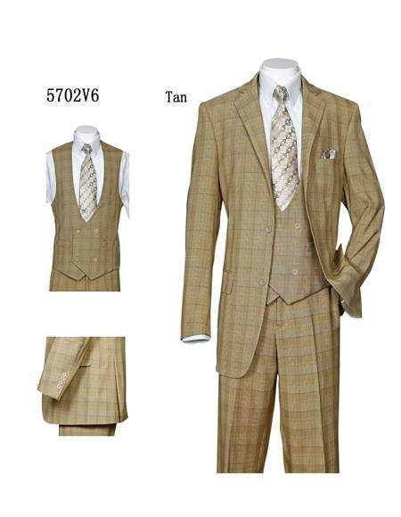 Men's Tan Double Breasted Vested 3 Piece Checkered Suit