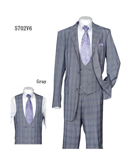 Mens Gray Plaid ~ Windowpane Notch Label Vested Suit