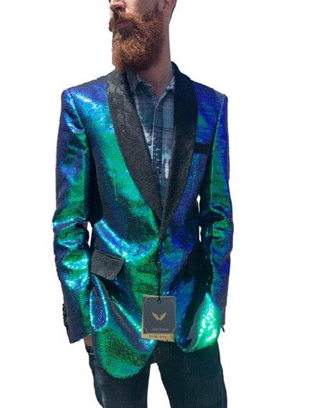 Mens Iridescent Green Sequin Blazer with Black Lace Shawl Lapel