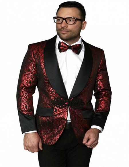 Red Color paisley Floral Satin Shiny Fashion Blazer paisley Jacket Dinner Jacket Sport Coat Flashy Stage Fancy Party Prom