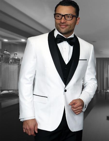 Mens 1 Button Shawl Collar Two Toned Tuxedo Dinner Jacket Blazer White